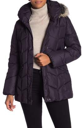 Larry Levine Quilted Faux Fur Hood Coat