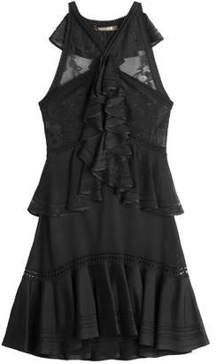 Roberto Cavalli Lace Panel Dress with Ruffles