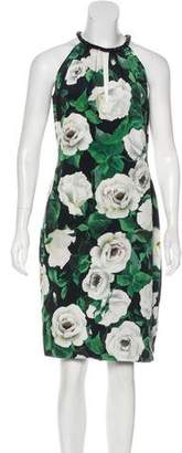 Carmen Marc Valvo Silk Floral Print Dress
