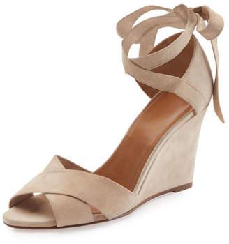 Aquazzura Tarzan Suede Ankle-Wrap Wedge Sandal, Nude