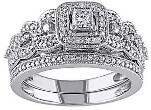Affinity Diamond Jewelry Affinity 1/2 cttw Princess Cut & Round DiamondSet, 14K