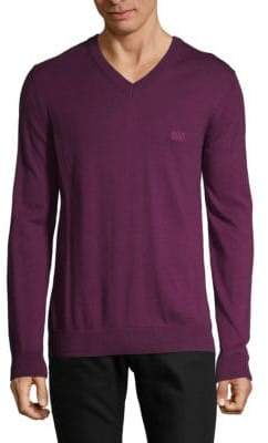 HUGO BOSS Cotton & Wool V-neck Sweater