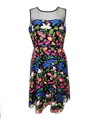 Tahari by Arthur S. Levine Women's Embroidered MESH Sleeveless FIT and Flare Dress