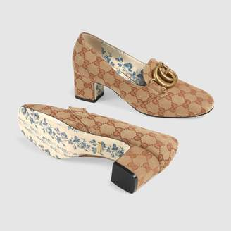 Gucci GG canvas mid-heel pump with DoubleG