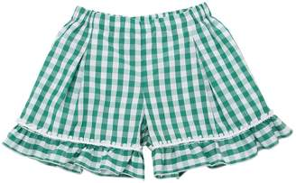 La Stupenderia Gingham Print Cotton Shorts