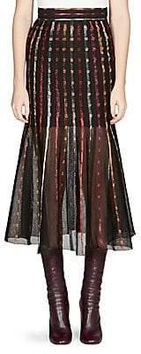 Alexander McQueen Women's Metallic Stitched Midi Skirt