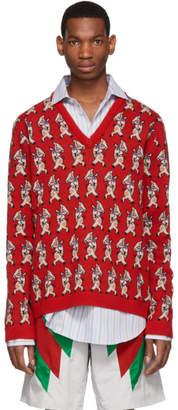 Gucci (グッチ) - Gucci レッド ウール ピッグ V ネック セーター