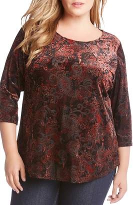 Karen Kane Velvet Burnout Shirttail Top