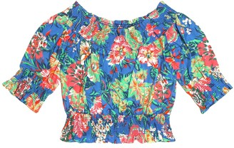 MSGM Kids Floral-printed cotton top
