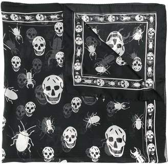 Alexander McQueen signature skull and beetle silk scarf