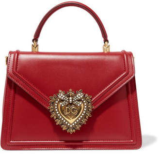 Dolce & Gabbana Devotion Small Embellished Leather Tote - Red