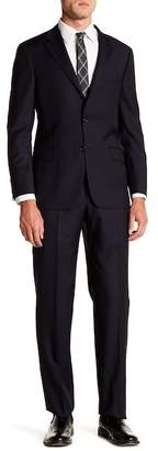 Hickey Freeman Milburn Solid Navy Two Button Notch Lapel Wool Suit