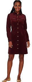 C. Wonder Button Front Corduroy Shirt Dress w/Printed Placket