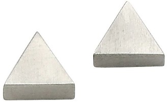 Steel By Design Stainless Steel Satin Triangle Stud Earrings