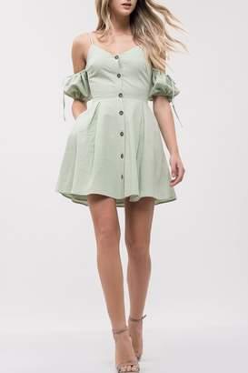 J.o.a. Cold-Shoulder Button-Up Dress