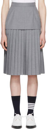 Thom Browne Grey Extended Lining Pleated Skirt