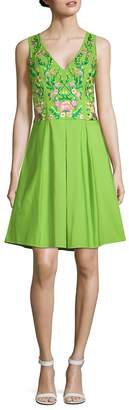 Marchesa Women's Embroidered Fit-&-Flare Dress