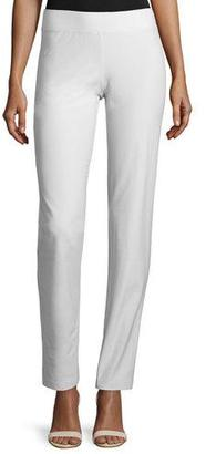 Eileen Fisher Washable Stretch Crepe Slim-Leg Pants, Bone $125 thestylecure.com