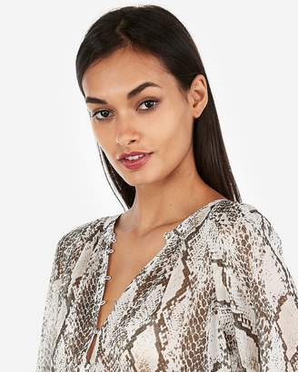 Express Snake Print Button Front Banded Sheer Blouse