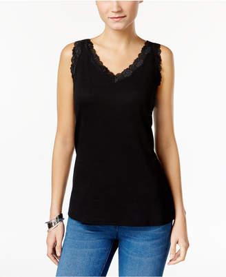 Karen Scott Petite Cotton Scalloped-Lace Tank Top, Created for Macy's