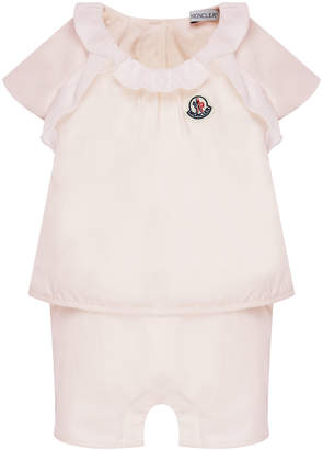 Moncler Cotton-Stretch Ruffle Top w/ Shorts, Size 6-24 Months