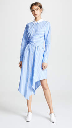 Jonathan Simkhai Long Sleeve Oxford Wrap Dress