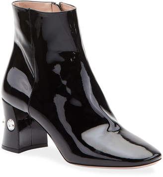 Miu Miu Crystal-Heel Patent Leather Ankle Booties