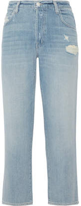 J Brand Ivy Cropped Distressed High-rise Straight-leg Jeans - Mid denim
