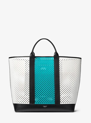 Michael Kors Georgica Oversized Color-Block Perforated Leather Tote Bag
