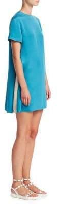 Valentino Short-Sleeve Side Panel Silk Dress