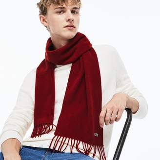Lacoste Men's Wool And Cashmere Flannel Fringe Scarf