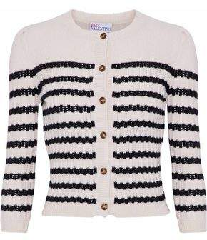 RED Valentino Striped Knitted Wool And Cashmere-Blend Cardigan