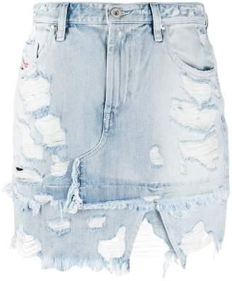 Diesel asymmetric distressed denim skirt