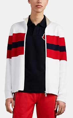 Moncler Men's Block-Striped Double-Knit Cotton Cardigan - White