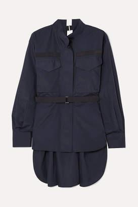 Sacai Open-back Grosgrain-trimmed Poplin Shirt - Navy
