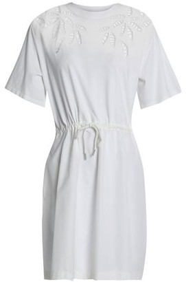 See by Chloe Lattice-Trimmed Gathered Cotton-Poplin Mini Dress