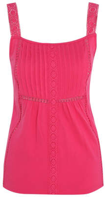 George Pink Broderie Anglaise Panel Vest Top