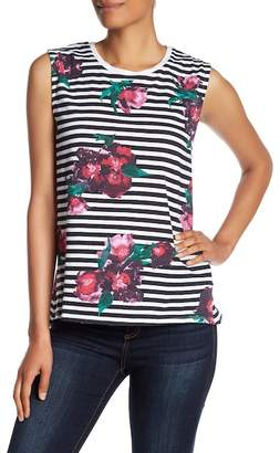 French Connection Jude Stripe Flower Tank Top