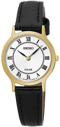 Seiko Womens Gold-Tone Black Leather Solar Watch SUP304