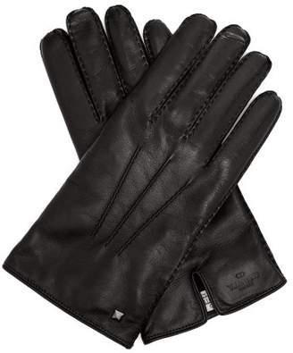 Valentino - Rockstud Leather Gloves - Mens - Black