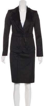 Burberry Leather-Trimmed Woven Skirt Suit w/ Tags