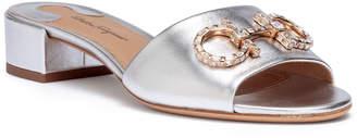 Salvatore Ferragamo Lampio 30 silver leather sandals