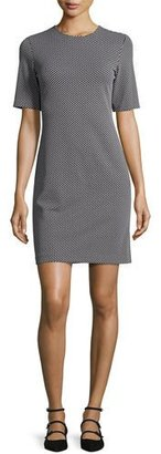 Theory Rijik B Claymont Short-Sleeve Sheath Dress, Black/White $295 thestylecure.com