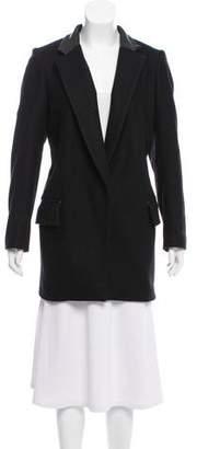 Rag & Bone Leather-Trimmed Wool Blend Coat