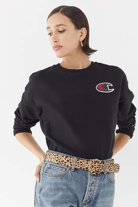 Champion Logo Patch Crew-Neck Sweatshirt