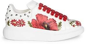 Alexander McQueen Women's Leather Floral Sneakers