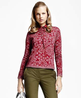 Floral Jacquard Crewneck Sweater $148 thestylecure.com