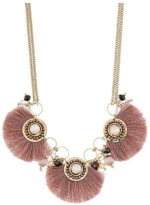 Accessorize Athena Fringe Collar Necklace - Pink