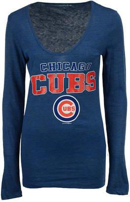 5th & Ocean Women's Chicago Cubs Glitter Long Sleeve T-Shirt