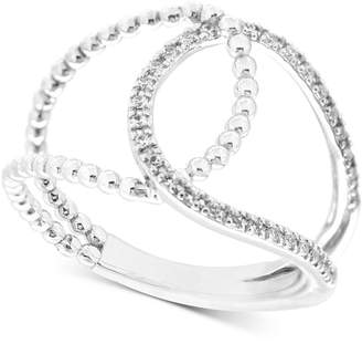 Wrapped Diamond Loop Ring (1/6 ct. t.w.) in 10k White Gold, Created for Macy's